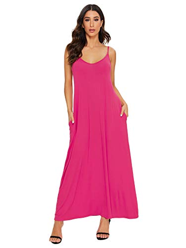 Verdusa Women's Casual Spaghetti Strap Flowy Long Beach Maxi Dress Navy L