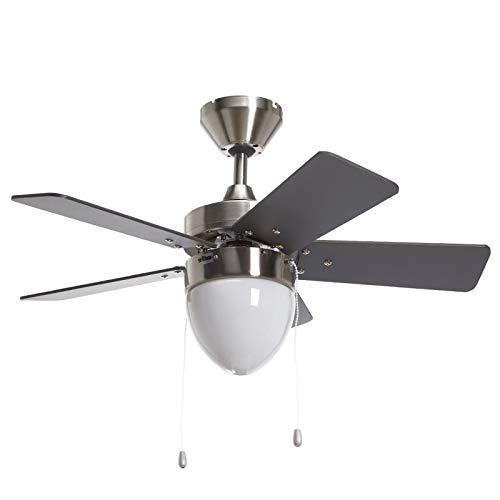 Lampenwelt Deckenventilator mit Beleuchtung und Zugschalter leise & klein | 2-in-1: Ventilator & Lampe | Durchmesser: 76 cm | 3 Geschwindigkeitsstufen | Sommer- & Winterbetrieb