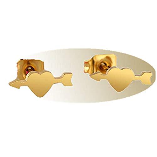 yichahu Pendientes lindos del amor del corazón del oro para las mujeres Sweety Korean Earrings Jewelry