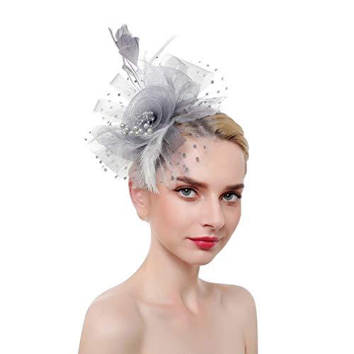 VPbao Tocado de fiesta de boda con flor de plumas para mujeres...