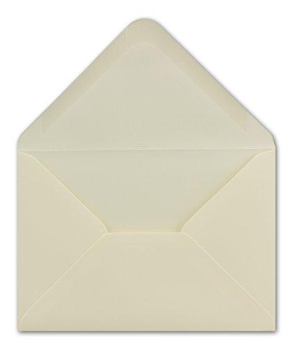 50 DIN C6 Brief-Umschläge Creme 11,4 x 16,2 cm 100 g/m² Nassklebung Brief-Hüllen ohne Fenster für Einladungen von Ihrem Glüxx-Agent