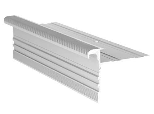RenoProfil 100 cm Treppenprofil STANDARD 14,5 für Parkett und Holz - Treppenkantenprofil für Treppenverkleidung und Treppenrenovierung - Farbe: Silber-Natur