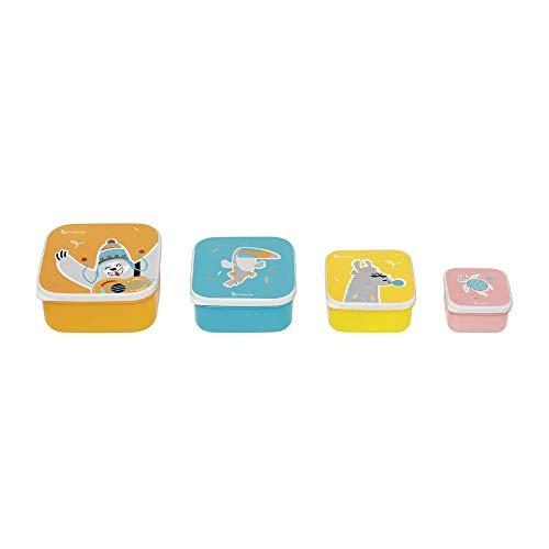 Badabulle Boites à Goûter - 4 Snacking Box de 110ml/ 250ml/ 400ml & 610ml
