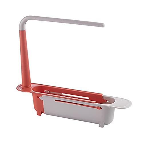heresell Soporte de lavabo telescópico extensible con toallero   Soporte de jabón ajustable para fregadero de cocina