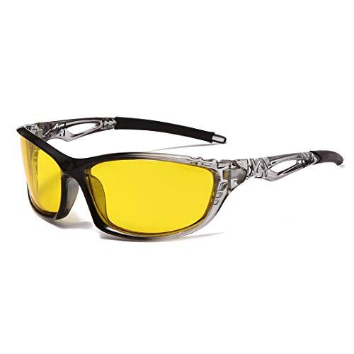 Gafas de sol deportivas polarizadas para ciclismo, correr, conducir, hombres y mujeres, visión nocturna (negro, gris, amarillo)