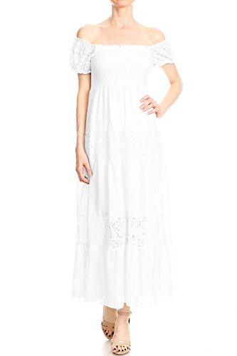 Anna-Kaci Womens Off Shoulder Boho Lace Semi Sheer Smocked Maxi Long Dress, White, Medium