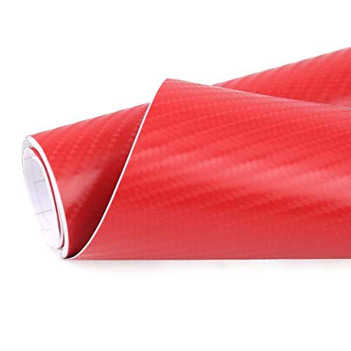 JOJOZZ 1m x 50cm Rojo 4d Fibra de Carbono Herramienta de la decoración Libre de la Burbuja del Vinilo del Coche de la película Etiqueta engomada del Coche de la película Modificado