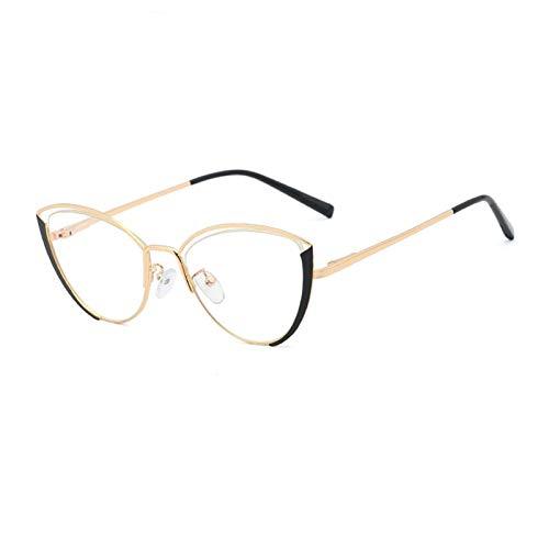 Metal gato ojo de ojos marco mujeres hueco anti-azul transparente anteojos gafas femeninas 0103 (Frame Color : 2)
