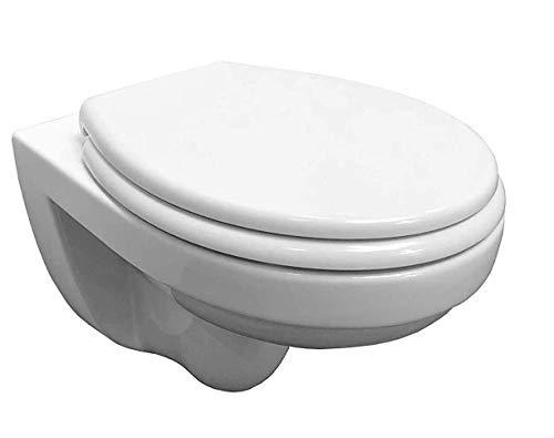 ADOB, spülrandlose wandhängende WC Keramik Toilette weiss inkl. WC Sitz mit Absenkautomatik zur Reinigung abnehmbar, inkl. Schallschutzmatte, 28013