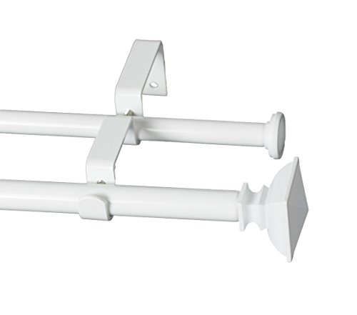 Urbanest Square Urn Adjustable Double Drapery Curtain Rod Set, 5/8', 28-48', Glossy White