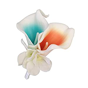 Lily Garden Real Touch Calla Lily Coral and White and Carnation Turquoise Flowers Wedding Bouquet (Boutonniere CT Picasso)