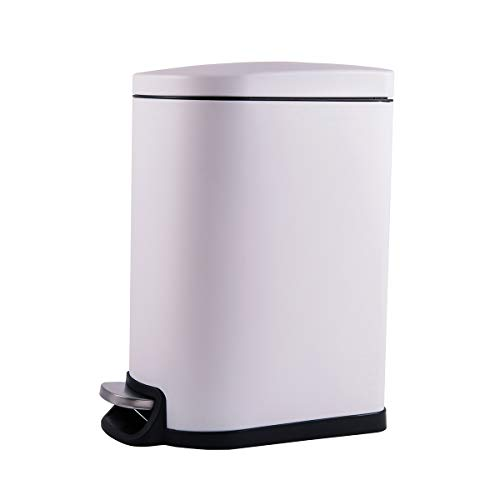 CLTEC 10 Liter/2.6 Gallon Slim Bathroom Trash Can with Lid Soft Close, Handle and Removable Inner Wastebasket, Rectangular Small Garbage Can for Kitchen Bathroom Bedroom Office Dorm Kids Room, White