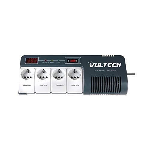 VulTech GS-1000AVR Stabilizzatore di Tensione, AVR, LCD, 600 W, 4 prese Schuko, Grigio