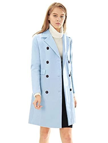 Allegra K Women's Long Jacket Notched Lapel Double Breasted Trench Coat Medium Blues