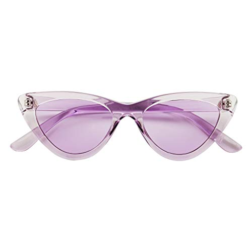 ShadyVEU Cute Candy Colored Slim Exaggerated Cat Eye Sexy Rainbow Transparent Frame Colorful Tint Lens Retro Sunglasses (Purple/Purple Lens)