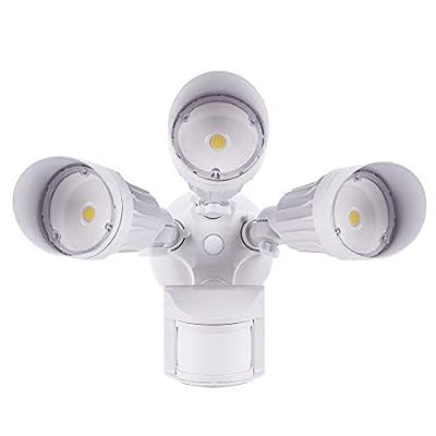 JJC LED Security Lights Motion Sensor Flood Light Outdoor,30W(250W Equiv.)3000LM,IP65 Waterproof,3000K-Warm White DLC & ETL Listed Outdoor Lighting for Garage Yard Garden Porch White