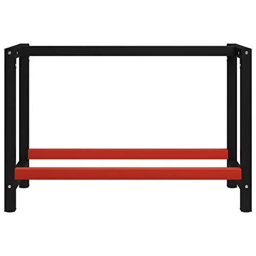 WooDlan Estructura de Banco de Trabajo Metal Negro y Rojo 120x57x79 cm
