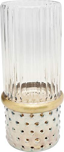 Kare Design vaas LA Visible 31cm, elegante vaas van glas, ronde glazen vaas met decoratie in goud en gestippelde sokkel, verschillende uitvoeringen verkrijgbaar (H/B/D) 31x14cm