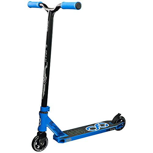 Infinity Scooters Patinete Freestyle para Adultos y Niños a Partir de 8 años - Patinete de Trucos y Saltos con Rodamientos ABEC-9 Ruedas 100mm de PU con Barra 360 Grados (Flare Azul)