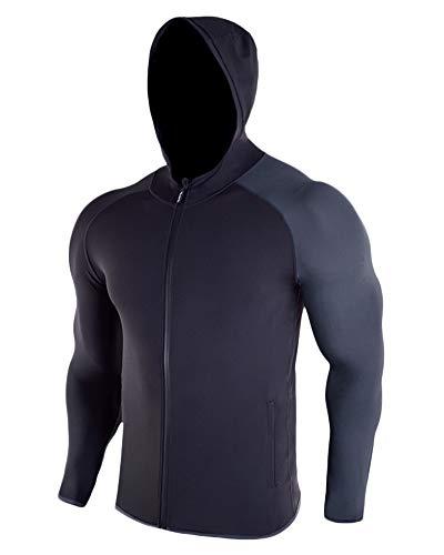 AnyuA Męska bluza z długim rękawem z zamkiem błyskawicznym, luźna, ciepła, miękka, do biegania, bluza z kapturem