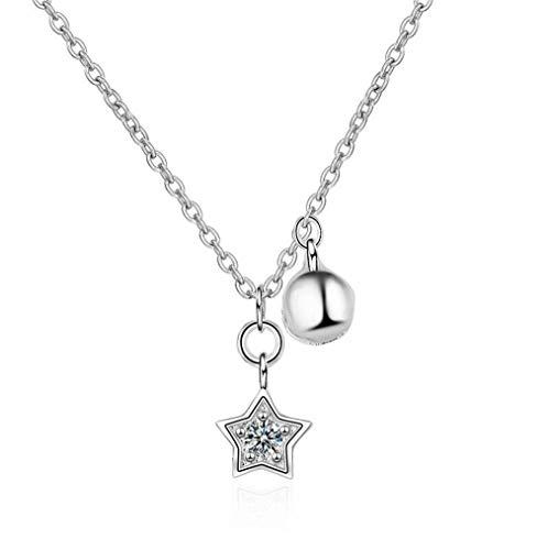 Yikoly Halsketting voor dames en meisjes, 925 sterling zilver, met hanger, sterren, bel, zirkonia, glitter, eenvoudige Y-ketting, charm, collier voor vrouw en vriendin