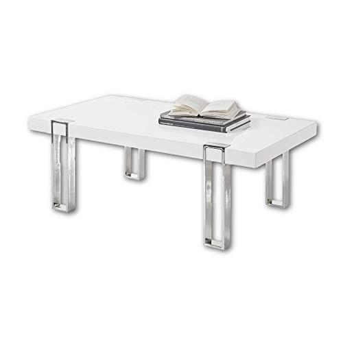 Stella Trading Austin - Mesa de café Moderna, Color Blanco Brillante con Estructura de Metal Cromado, Elegante Mesa de sofá para tu salón - 110 x 40 x 60 cm