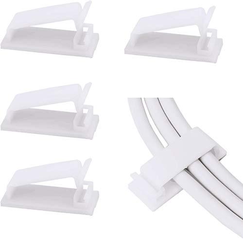 SOULWIT® 50Pcs Clips Organizador de Cables Autoadhesivo, Gestión de Cable Eléctrico, Clips...