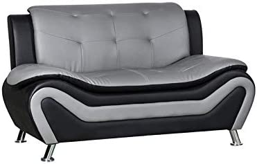 Best Kingway Furniture Gilan Faux Leather Living Room Loveseat in Black and Gray