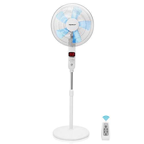 Aigostar Ocean - Ventilador de pie oscilante 85º con mando a distancia, 50W. Pantalla digital LED, 3 modos y 3 velocidades, 5 aspas. Temporizador apagado/encendido 24h. Altura max, 142m. Silencioso.
