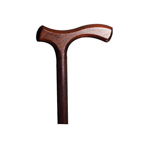 Bastón marrón con empuñadura en forma de T en madera de haya