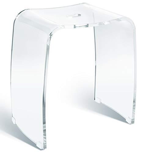MERAN - Taburete de baño (acrílico transparente, apto para la ducha, con mango, diseño atemporal, antideslizante con patas de goma)