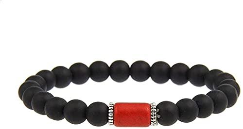 Pulsera de buena suerte Pulsera de piedra Mujer, 7 chakra natural piedra roja brazalete elástico brazalete negro helada pulsera yoga equilibrio encanto moda joyería afortunada para mujeres hombres cum