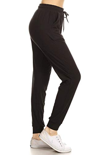 JGAX128-BLACK-1XL Solid Jogger Track Pants w/Pocket, 1X