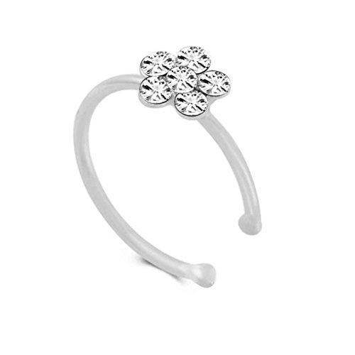 Kakiyi Rhinestone Flower False Hoop Nose Earring Punk False Lip Clip Girl Jewelry nostril Circle Ear Hoop Body Ring