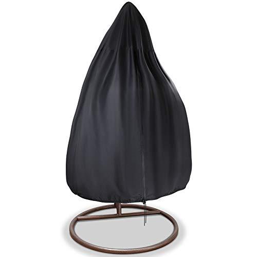 Housse de chaise suspendue, Couvertures imperméables de chaise d'oscillation d'oeufs en osier, Protecteur résistant de meubles de jardin de véranda résistant à la poussière de vent - 75''x45'', Noir