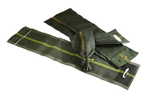 Silosandsäcke 270 x 1000/1200 mm - Kiessäcke Hochwassersäcke Monofilsäcke Sandsäcke für Fahrsilo, Silo und Hochwasser mit Zugband/Verschlußband und Griff/Griffloch grün mit Wendekennstreifen