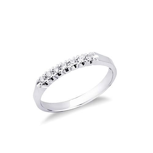 Gioielli di Valenza - Anello Veretta a 7 pietre in Oro bianco 18k con Diamanti ct. 0,10 - FE7RA010BB - 14