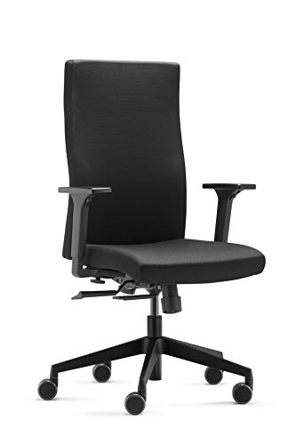 Trend Office Strike Plus Comfort SK 9248 Bürodrehstuhl, Bürostuhl, Chefsessel, schwarz, Vollpolster Rückenlehne, integrierte Lumbalstütze, Neu von Dauphin
