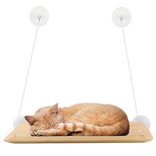 SANON Hamaca con Ventana para Gatos Ventana para Gatos con Asiento Soleado Cama Colgante para Gatos con Ventosa Cómoda Duradera Sólida Ahorra Espacio Fácil de Limpiar Una Sola Capa