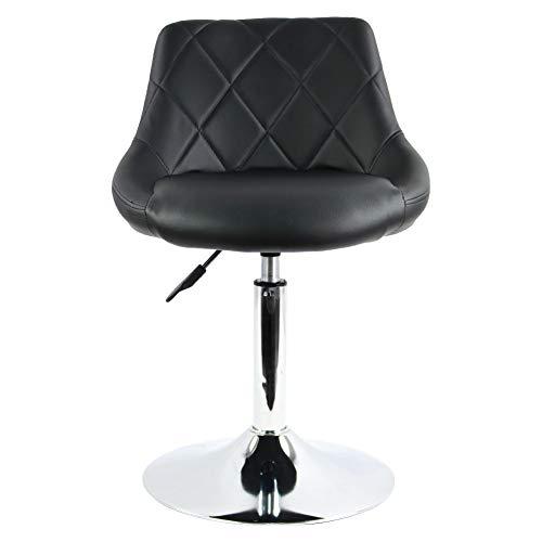 FURWOO - Sedia da bar in pelle PU, altezza regolabile e girevole, con schienale semi-chiuso, per barbiere, bancone da casa, cucina, per sala di bellezza, sala da colazione, bar, sgabello (nero)