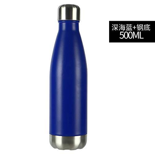 Heliansheng Taza de Agua Deportiva de 500 ml Taza de Aislamiento de plástico en Aerosol Anti arañazos de Acero Inoxidable 304-B16-500ml-G095