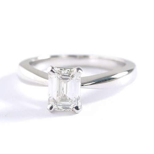 Anillo de compromiso de diamante solitario de esmeralda de 0,70 quilates, VS2 F, oro de 18 K