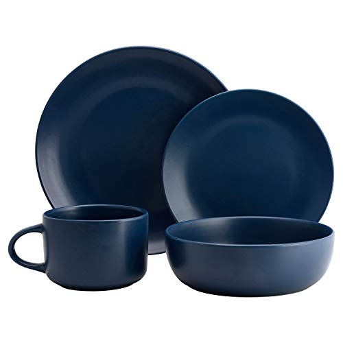 10 Strawberry Street Wazee Matte Coupe Dinnerware Set, 16 Pc, Midnight Blue