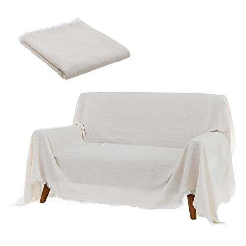Cubre sofá Blanco de algodón y poliéster de 290x230 cm - LOLAhome