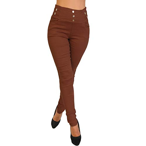 Candygirls High Waist Thermo Stretch Hose breiter Bund Knopfleiste Jeggings Treggings Leggings Röhre P18782 (Rost, S/M 36/38)