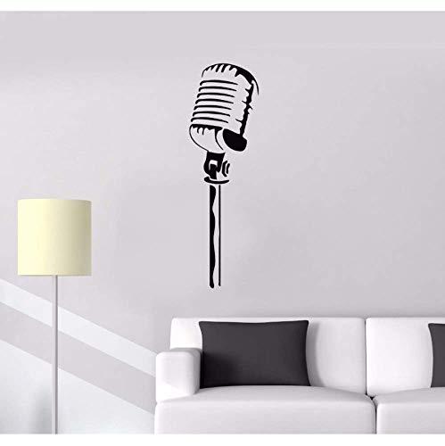 Vinyl Wandmikrofon Wandaufkleber Musik Sänger Karaoke Rock Pop Abnehmbare Tapete Home Decoration Musikstil 42 * 133Cm