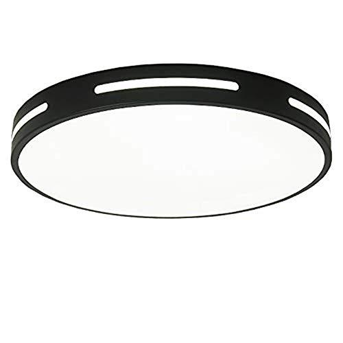 Lámpara de techo LED de estilo minimalista, lámpara de techo empotrada creativa moderna nórdica, tres temperaturas de color, dormitorio, baño, comedor, sala de estar (Black, 40cm)