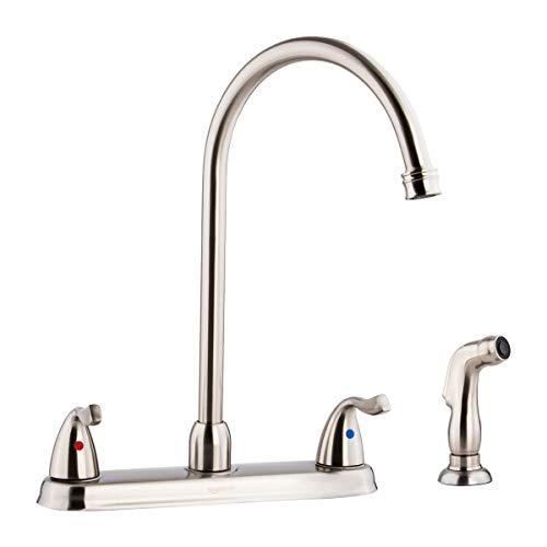 AmazonBasics AB-KF703-SN Two-Handle High-Arc Kitchen Faucet, Satin Nickel
