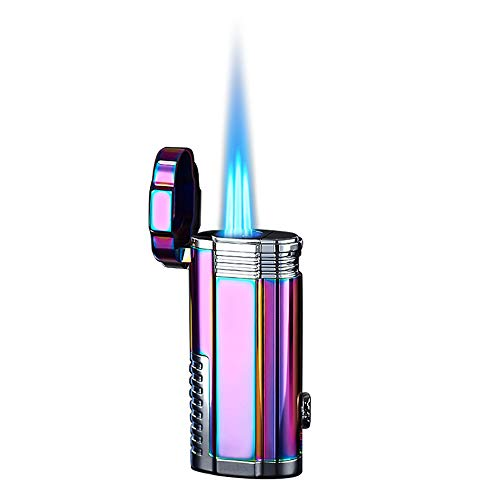 Cigar Torch Lighters Triple Jet Flame Windproof Refillable Butane Lighter with Puncher - Butane Not Included (Rainbow)
