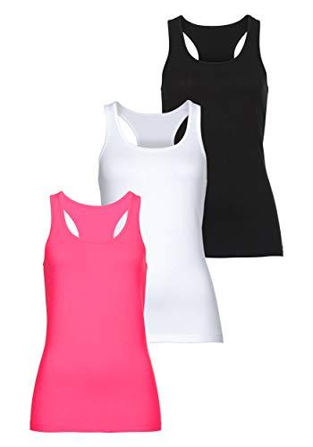 MONYRAY Cotton Essentials Damen Unterhemden Light Tank Top 3er Pack(schwarz/weiß/rot, S)
